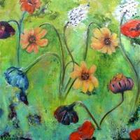 Bloemen op groen veld