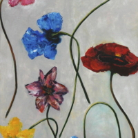 Bloemen op grijs veld 2