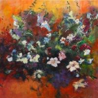 Bloemen op oranje veld / 2015 / acryl / 70 x 70