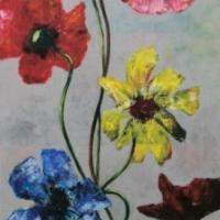Bloemen op grijs veld 1