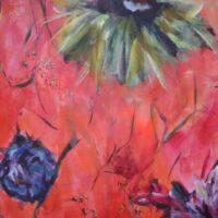 Bloemen nr. 4 / acryl op doek / niet opgespannen / 165 x 62
