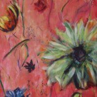 Who's afraid of Flowers? no. 3 / acryl op doek / niet opgespannen / 165 x 62