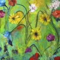 bloemen op groen veld / acryl / 70 x 70