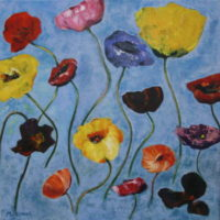 bloemen op blauw veld / 2014 / acryl / 70 x 70