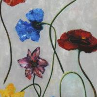 bloemen op grijs veld / 2014 / acryl / 140 x 70