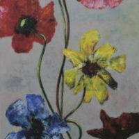bloemen op grijsveld